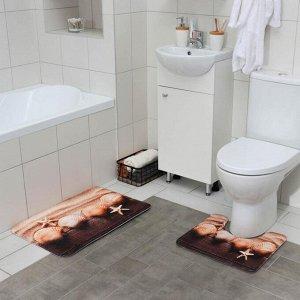 Набор ковриков для ванны и туалета Доляна «Ракушки», 2 шт: 45?70, 39?45 см