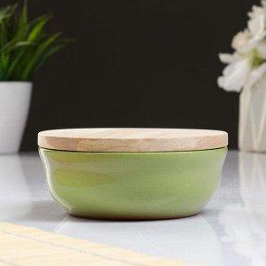Набор для xолодца 0,3 л (1 емкость с деревянной крышкой ) 13x6см, салатовый