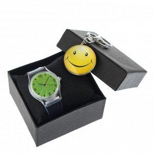 """Подарочный набор 2 в 1 """"Смайл"""": наручные часы d=3,5 см, брелок"""