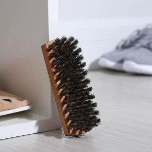 Щётка для обуви, 13?4 см, 80 пучков, натуральный волос