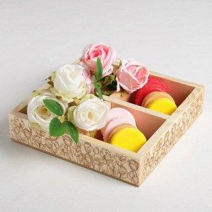Ящик-кашпо подарочный «Тюльпаны». 4 ячейки. 20 ? 20 ? 4.5 см