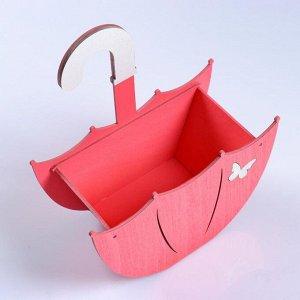 """Кашпо деревянное """"Зонтик с подвесом"""", коралловый, 19?9?21.5 см"""