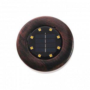 Светильник грунтовый герметичный на солнечной батарее 3 Вт,  8 LED, IP66, 3000К, под медь
