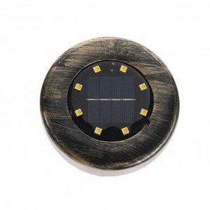 Светильник грунтовый герметичный на солнечной батарее 3 Вт,  8 LED, IP66, 3000К, под бронзу