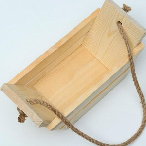 """Кашпо деревянное 27?11?11 см """"Лодочка"""", ручка канат, с прорезью"""