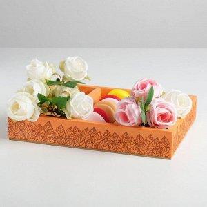 Ящик-кашпо подарочный «Листья». 3 ячейки. 27.5 ? 20 ? 4.5 см