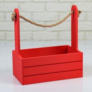 """Кашпо деревянное 25.5?15?30 см """"Аром"""", ручка канат, красное"""