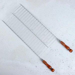Решетка-гриль 25 х 50 см с деревянными ручками