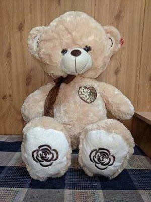 Мягкая игрушка Медведь с цветочным сердечком 70см, в ассорт.