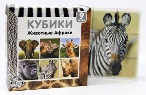 """Кубики 9 шт. """"Животные Африки"""",12,6*12,7*4,2 см"""