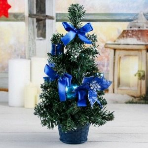 Елка декор 30 см. синяя пуансетия в снегу *