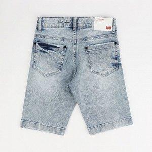 Бриджи МАЛ Страна: Турция Производитель: A-YUGI Материал: 95% хлопок, 5% эластан Пол: МАЛ Описание товара: Джинсовые шорты для мальчика с варкой и потертостями.