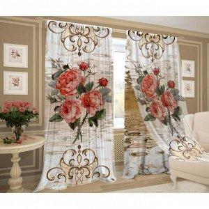 Комплект штор 3D эффект Пастельные розы шторы (150х270-2шт), тюль (150х270-2шт), пэ 100%