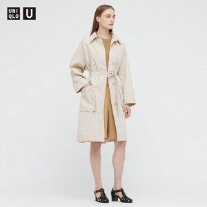 Женское длинное пальто из хлопка,натуральный