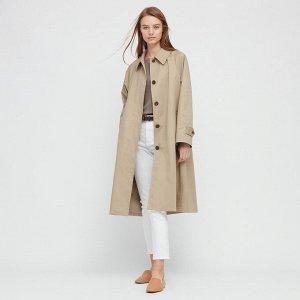 Женское пальто с воротником-стойкой, бежевый