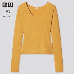 Хлопковый свитер с круглым вырезом ,желтый