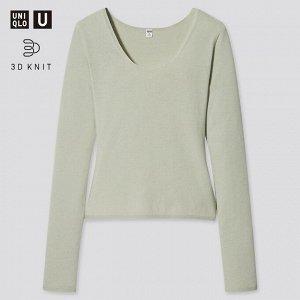 Хлопковый свитер с круглым вырезом ,светло-зеленый