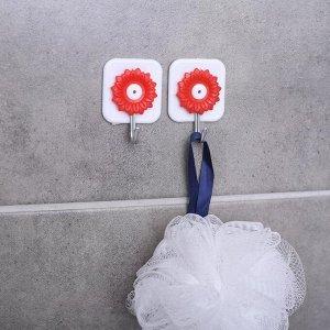 Набор крючков на липучке «Астры» , 2 шт, цвет МИКС