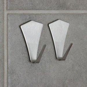 Набор крючков на липучке «Кристалл», 2 шт, металлические