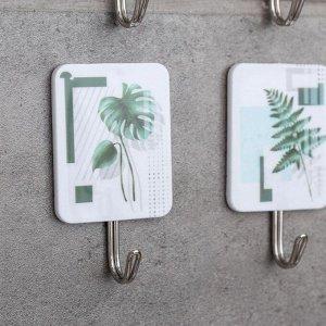 Набор крючков на липучке «Галерея», 9 шт, тропические листья
