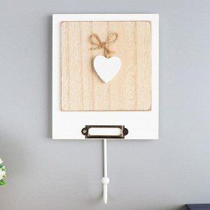 """Крючок декоративный дерево """"Сердце на веревочке"""" 23,5х13,2х4,5 см"""