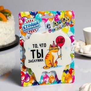 Свеча для торта «С Днём Рождения. котик. то. что ты заслужил». 10?10 см