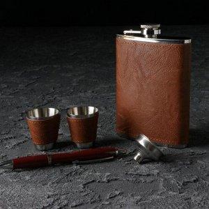 Подарочный набор 5 в 1: фляжка 240 мл, воронка, ручка, 2 рюмки, коричневый, 17х21 см