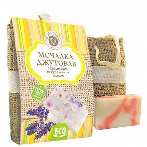 Мочалка джутовая с крымским натуральным мылом РОЗА 100 г