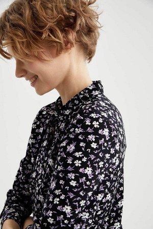 Рубашка черная в цветочек