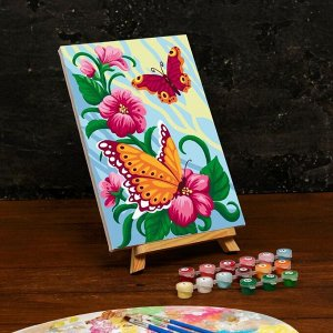 Картина по номерам на холсте с подрамником «Весенние бабочки» 20×30 см