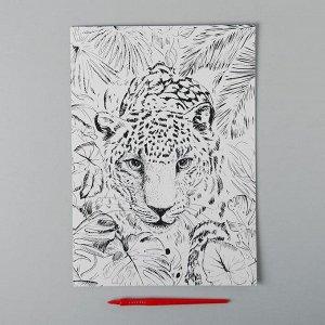 Гравюра «Леопард в джунглях» A4, с металлическим золотым эффектом