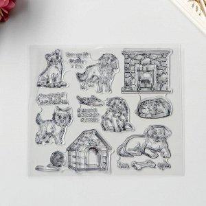 "Штамп для творчества силикон ""Кошки и собаки"" 15х17 см"
