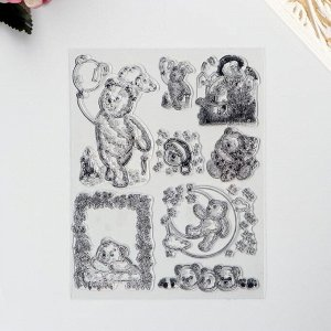"Штамп для творчества силикон ""Медвежата"" 18х14 см"
