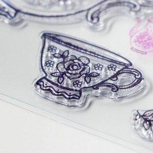 """Штамп для творчества силикон """"Чайный сервиз с розами"""" 18х14 см"""