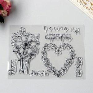 """Штамп для творчества силикон """"Цветочное сердце и цветы"""" 15,5х21,5 см"""