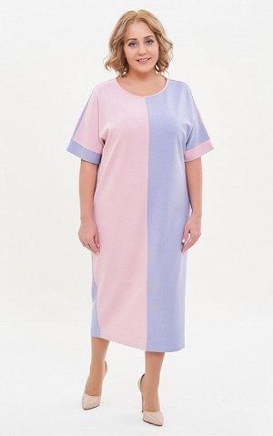 Платье розовый/голубой. Вискоза 88%, Полиамид 6%, Лайкра 6%