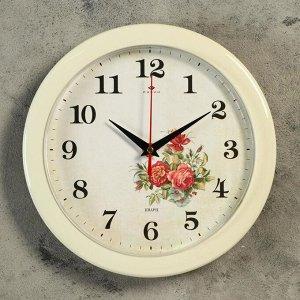 "Часы настенные круглые""Розы"". белый обод. 23х23 см Рубин"