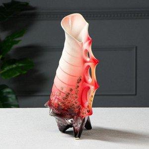 "Ваза настольная ""Ракушка"". красная. 36 см. керамика"