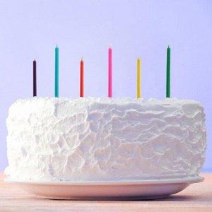Набор свечей с цветным пламенем в коробке « С Днем рождения». 6 шт . 4 х 12 см
