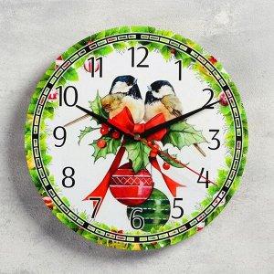 """Часы настенные, серия: Новый год, """"Синицы"""", d=24 см, плавный ход"""