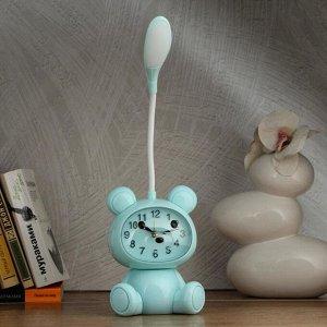 """Часы-светильник """"Мишка""""  LED, с будильником, 3 AA. USB. 5 Вт, дискр. ход, голубой"""
