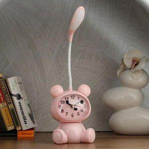 """Часы-светильник """"Мишка""""  LED, с будильником, 3 AA. USB. 5 Вт, дискр. ход, розовый"""