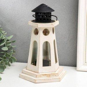 "Подсвечник дерево на 1 свечу ""Фонарь-маяк"" белый 22х13.8х12.8 см"