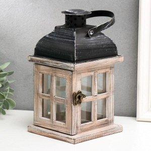 """Подсвечник дерево на 1 свечу """"Фонарь - окошки"""" состаренный белый 22х11.5х11.5 см"""
