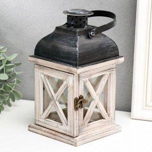 """Подсвечник дерево на 1 свечу """"Фонарь - ставни"""" состаренный 22х11.5х11.5 см"""
