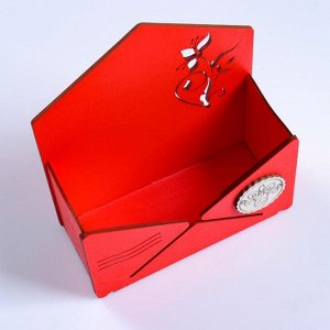 """Кашпо деревянное """"Конверт Летний сад"""", красный, 16?6.8?18.5 см"""