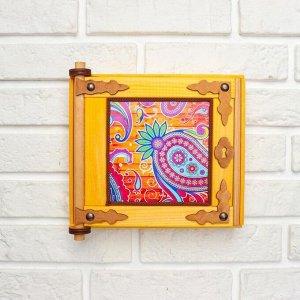 """Ключница - картина, деревянная """"Пейсли"""", 20 х 20 х 6 см"""