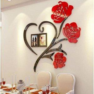 """Панно на стену декоративное """"Розы"""" с фоторамками 0.5х0.5 м 5439618"""