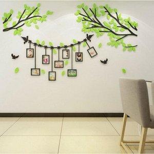 """Панно на стену декоративное с фоторамками """"Веточки"""" 2х1.15 м, зелёный"""
