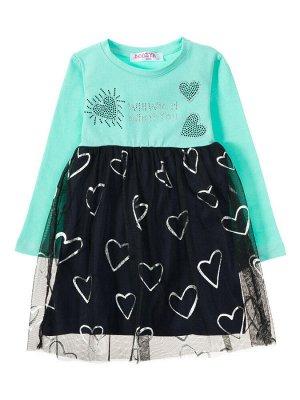 """Платья для девочек """"Heart green"""", цвет Зеленый темно-синий"""
